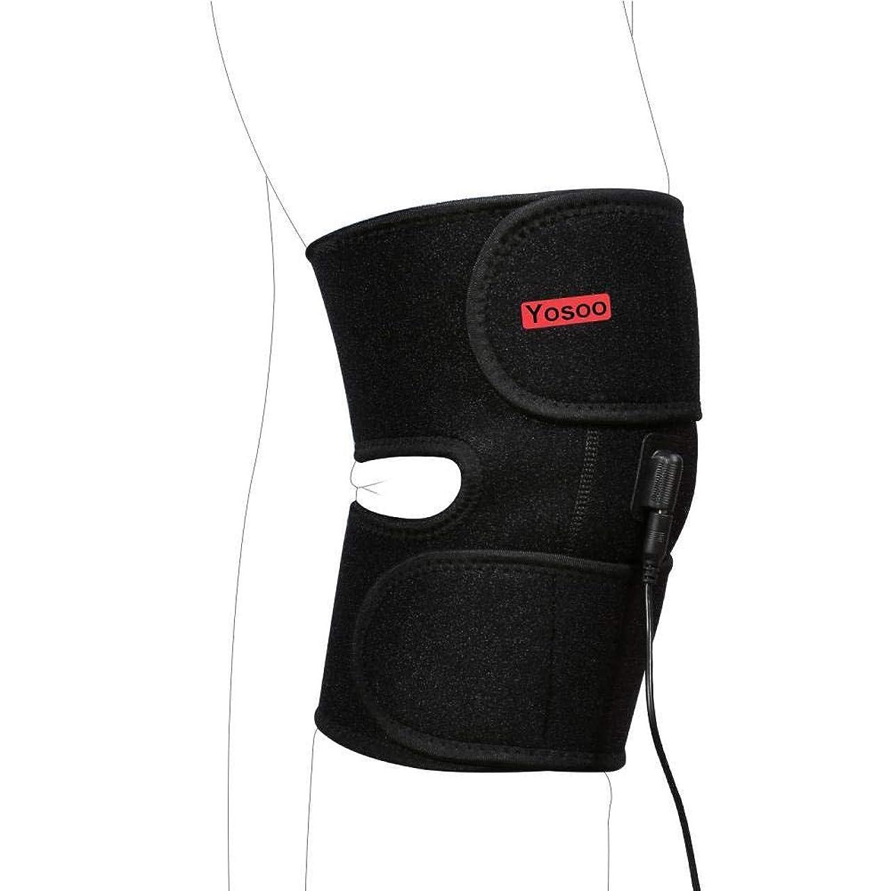 かまど確認する血まみれの調節式膝ヒートパッド ヒートセラピーニーラップブレース 温熱療法 1.5M USB充電可 膝痛み緩和 40℃-45℃ 過熱保護 ラップ幅調節可能 洗濯可能