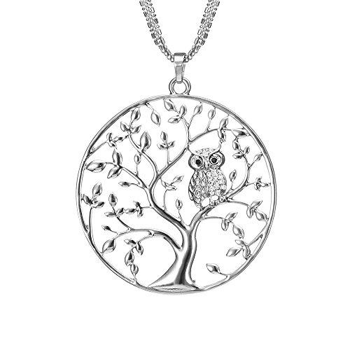 Lange Halskette für Frauen, Baum des Lebens mit Eule Anhänger Halskette für Mädchen Rose Gold und Silber Halskette mit CZ Crystal Kette Halskette (Versilbert)