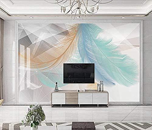 Modern Minimalistic Feather Geometry 3D Wallpapers Bedroom Living Room Wallpapers Custom 3D Wallpaper Paste Living Room The Wall for Bedroom Mural border-150cm×105cm