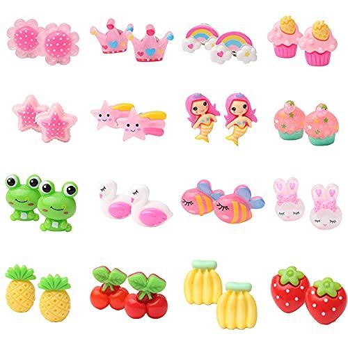 Aloces - 16 paia di orecchini a clip per ragazze, con cuscinetti a clip, senza foratura, design elegante, accessori per ragazze e bambini, in 1 scatola trasparente