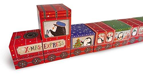 Braun 'Marrone + Company 4630–0001Calendario dell' Avvento Set X-mas Express in Scatola di Cartone, Carta, Multicolore, 37.5x 6.5x 25.5cm