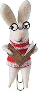 Felted Wool Bookmark - Clip On Animal Reading a Book, Rabbit in Sweater
