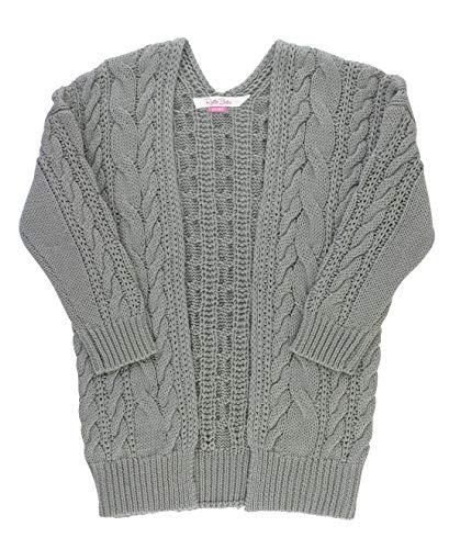 RuffleButts Girls Gray Chunky Knit Open Style Cardigan - 6/7