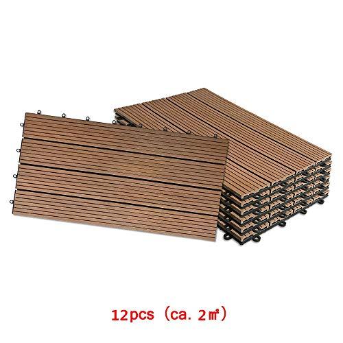 Aufun Fliesen WPC Kunststoff 30x60cm - Terrassenfliesen Balkonfliesen Klickfliese in Holz Optik Braun (12 Stück fur 2m², Braun)