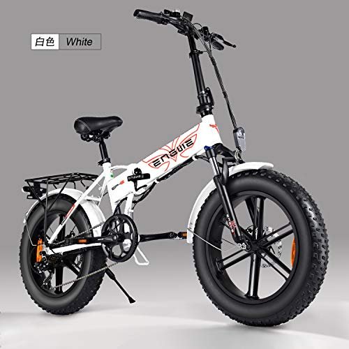 gsunmmw 500W 20 inch Fat Tire Folding Electric Bicycle Mountain Beach Snow Bike for Adults, Aluminum Electric Scooter 7 Speed Gear E-Bike with Removable 48V 12.5A Lithium Battery