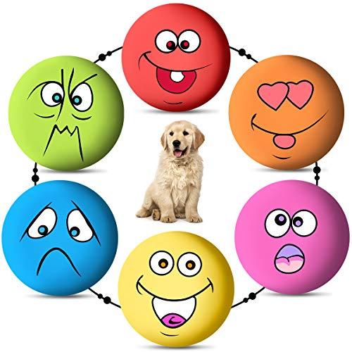 Rehomy Hundespielzeug, Gummi, quietschende Bälle, weich, zum Kauen, quietschende Gesichtsbälle, Tennisbälle für kleine und mittelgroße Haustiere, Hunde, Katzen, Welpen, 6 Stück