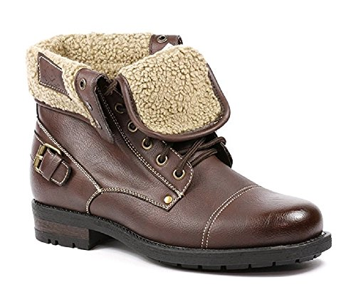 Polar Fox Men's 506015 Military Fold Down Wool Lined Combat Style Desert Ankle Boots, Dark Brown, 8.5