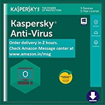 Kaspersky Anti-Virus Latest Version - 3 PCs, 3 Years (Email Delivery in 2 hours- No CD)