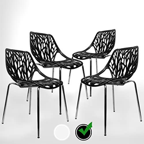 Best UrbanMod Black Modern Dining Chair | (Set of 4) Stackable Birch Sapling Accent Armless Side Chairs