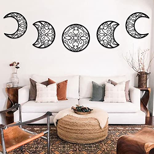 HUSSHUYU Moon Phase Wall Hanging Decor Set of 5 | Wooden Black Moon Art Wall Decor | Large Goth Room Decorations for Home Bedroom Apartment
