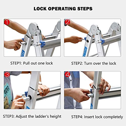 Extension Ladder, 17 Feet Aluminum Extension Multi-Position Ladder Adjustable Telescoping Ladder with Protective Lock and 2 Wheels