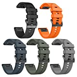 ANCOOL Compatible with Fenix 5X Band Easy Fit 26mm Width Soft Silicone Watch Bands Repalcement for Fenix 5X/Fenix 5X Plus/Fenix 3/Fenix 3HR Smartwatches - 5PCS Pack