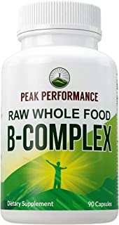 Raw Whole Food Vegan B Complex Supplement. Best B-Complex with Vitamin B1, B2, B3, B5, B6, B7, B9 and B12. ...