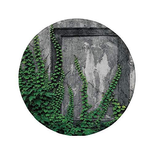 Rutschfreies Gummi-rundes Mauspad mystisches Hausdekor Efeu an der Wand mit altem antikem leerem Bilderrahmen als Fenster kreative Kunst grüne Holzkohle 7.9