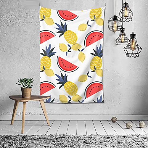 Tapiz para colgar en la pared con diseño de sandía, piña, limón, para dormitorio, decoración psicodélico, 152 x 101 cm