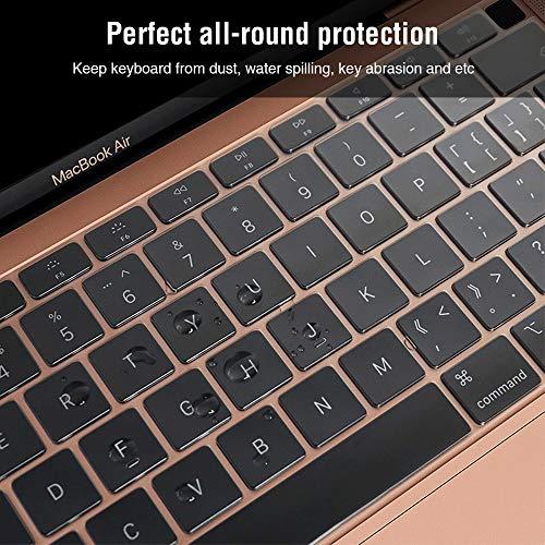 EooCoo Ultra Dünn Tastaturschutz Kompatibel für 2020 Macbook Air 13 Zoll M1 A2337 A2179 mit Retina Display und Touch ID, QWERTZ EU-Layout, TPU Klar
