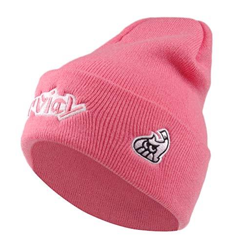 Unisex Inkling Girls Boys Hokkori Knitted Beanie Cuff Hats Blowfish Embroidery Skull Caps (Pink)