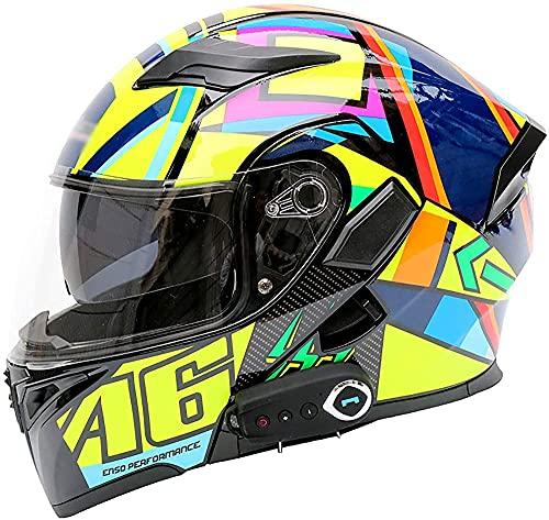 TSYFFF Casco de motocicleta con Bluetooth integrado y modular para cuatro estaciones, aprobado por DOT/ECE, ligero para hombres y mujeres, casco de motocicleta de cara completa