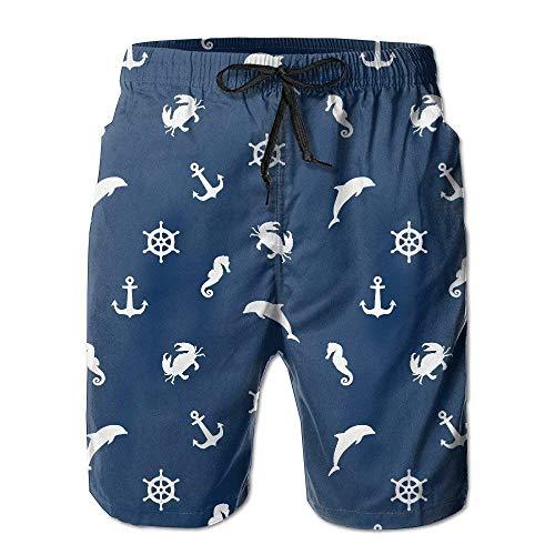 LarissaHi Seemuster. Anker, Delfin, Krabbe, Lenkrad und Seepferdchen Herren-Badehose mit einzigartigem Design und Drucktaschen M