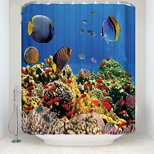 SMNHSRXH Mooie douchegordijnen van polyester in visvorm van de wereld onderwaterwereld wasbare gordijnen voor thuis, douche, anti-schimmel