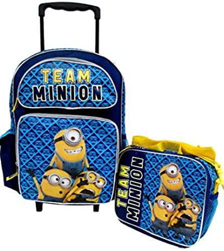 Despicable Me 2 Minions Don't Move Large 16 Rolling Wheeled Book Bag School Backpack & Lunch Bag Set by Bag2School