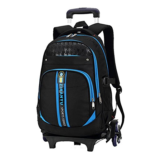YUB Rolling Backpacks Children School Bags Students Backpack Trolley Wheels Bags for Kids Removable (Blue)