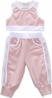 Baby Girls Sport Clothes Tank Top and Pants Outfits with Tulle Appliques