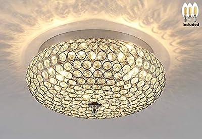 Amabao Lighting, 3-Light Chrome Finish Crystal LED Flush Mount Light Fixture, Ceiling Light Fixture for Bedroom, Living Room, Dining Room, Hallway, E12, 4WX 3 LED Bulbs Included