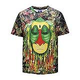 3D T-Shirt Unisex Camiseta Impresa Cuello Redondo Informal Top De Manga Corta Rey Mono