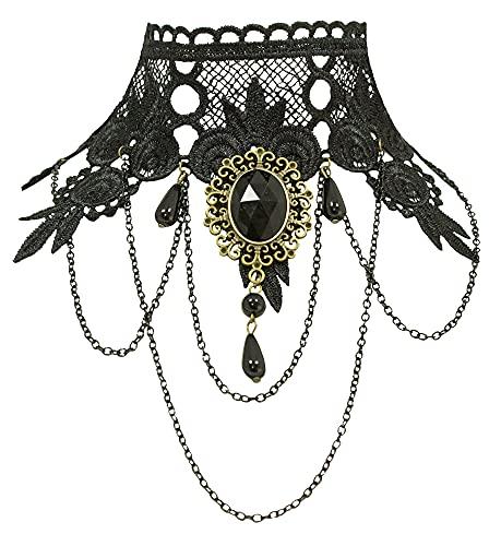 Collar gtico de encaje con broche  Negro  Cosplay Carnaval Halloween Vampiro bruja disfraz collar collar gargantilla