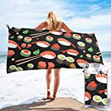 Gebrb Toalla de baño de Microfibra,Toallas de Gimnasio,Japanese Sushi Shrimp Microfiber Fast Drying Towels Suitable for Camping, Backpacking,Gym, Beach, Swimming,Yoga