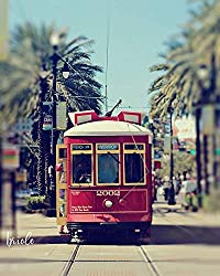 Image: Briole Photography | Red New Orleans Streetcar Photograph Canal 2002
