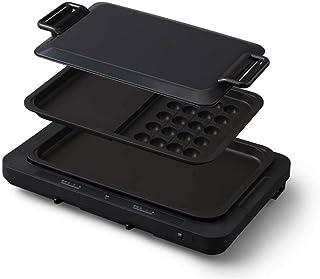 アイリスオーヤマ ホットプレート たこ焼き 平面 タイプ 左右温度調整 2枚 アタッチメント付 ブラック WHP-012-B