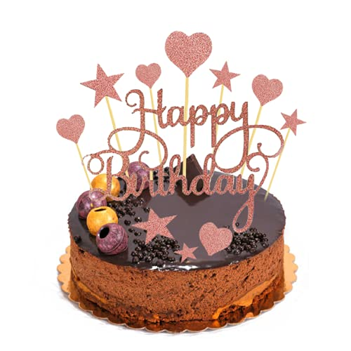 COPSD Decoración de Tarta de cumpleaños,Oro Rosa,2 Patrones Diferentes de Feliz cumpleaños,10 Patrones de Estrellas,10 Patrones de corazón