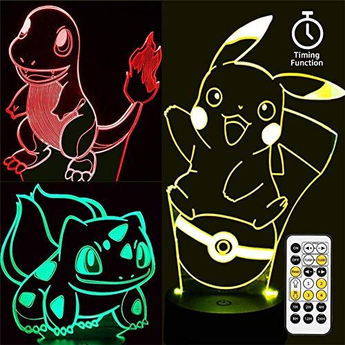 Lámpara de ilusión 3D, Pokemon 3D, luz nocturna para niños con 16 cambios de color y control remoto, regalos para niños a partir de 3 4 5 6 años