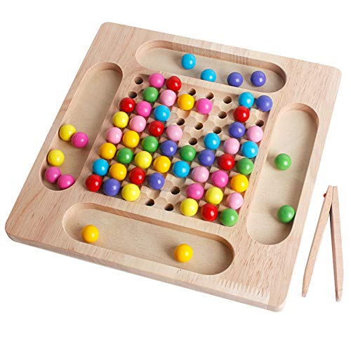 Spielzeug Holz Spaß Brettspiel Lernspielzeug Regenbogen Perle Spiel für Kinder Regenbogenspaß Abnehmender Konzentrationstraining Holzkinder Frühpädagogik Clip Bead Pädagogisches Spielzeug