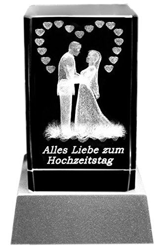 Kaltner Präsente Stimmungslicht LED Kerze/Kristall Glasblock / 3D-Laser-Gravur HOCHZEITSKERZE Alles Liebe ZUM Hochzeitstag