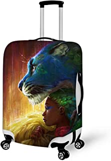 Luggage Cover Rain Leopard Fantasy Peacock Black Girl Protective Travel Trunk Case Elastic Luggage Suitcase Protector Cover