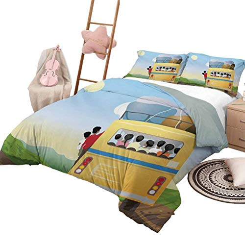 HouseLook Cartoon Duvet Cover Set Printed Yellow Bus Full of Passengers and Luggage Driving in Meadows Warm Spring Day Luxury Down Comforter Quilt Cover Multicolor with 2 Pillow Shams, Full Size