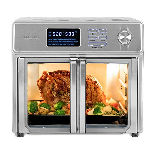 Kalorik 26 QT Digital Maxx Air Fryer Oven with 9 Accessories Roaster Broiler Rotisserie Dehydrator Oven Toaster Pizza Oven and Warmer Includes Cookbook Sears up to 500⁰F Extra Large Capacity All in One Appliance Stainless Steel AFO 46045 SS