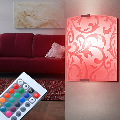 Wand Leuchte Farbwechsel Beleuchtung Glas bedruckt floral im Set inklusive RGB LED Leuchtmittel