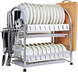 Met Love Talladora de plato de acero inoxidable 2 nivel de drenaje de plato de gran capacidad con bandeja de goteo estirable.