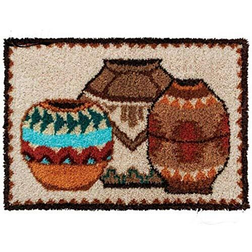 Kits de ganchos de pestillo Kits de fabricación de alfombras DIY para niños/adultos con patrón de lienzo impreso maceta de 20 x 15 pulgadas