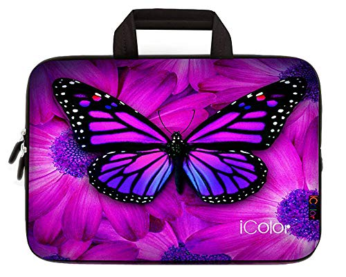 ICOLOR Purple Butterfly Laptop Carrying Bag Cover Neoprene Travel Briefcase Portable Chromebook Ultrabook Sleeve Case with Handle Fit 9.7 10 10.1 10.2 Inch Dell Google Acer HP Lenovo Asus(IHB10-05)