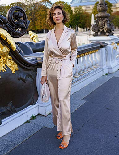 The Drop Women's Sand Satin Jumpsuit by @sabthefrenchway