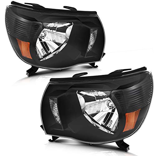 LSAILON Headlight Assembly Driver and Passenger Side Replacement For Toyota Tacoma 2005-2011 Black Housing Clear Lens