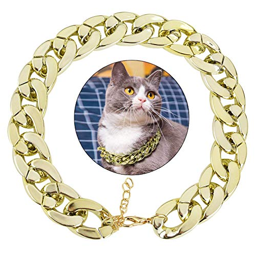 Legendog Dog Neck Chain, Cuban Link Dog Collar Pet Chain Collar Fashion Cool Plastic Pet Chain Necklace for Cat Dog (Golden)
