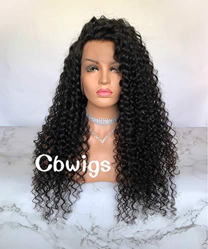 Cbwigs Glueless Curly Perruque frontale en dentelle 360 avec délié pré-plumé (22 inch 130% Density, couleur naturelle)