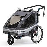 Qeridoo Sportrex 2 (2020) Fahrradanhänger 2 Kinder, einstellbare Federung...