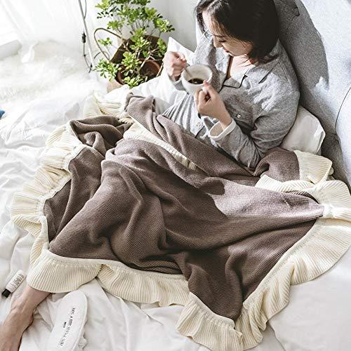 FGRTY Manta de Tiro de Hilo de Punto con Volantes de algodón para Cama Sofá Suave Viaje Camping Al Aire Libre Edredón a Cuadros Cobertor para niños Adultos